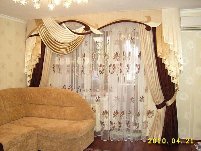 Дизайн штор с ламбрекенами для зала фото