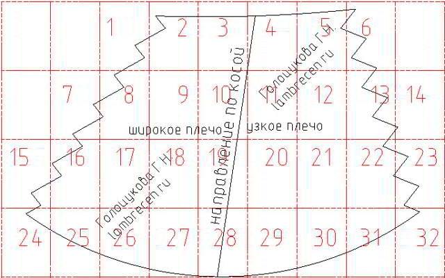 схема кроя асимметричного перекида 22
