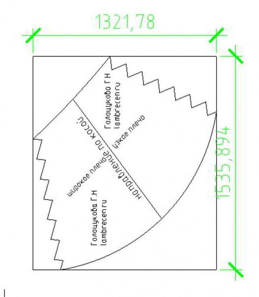схема расхода ткани и расположения кроя асимметричного перекида 22