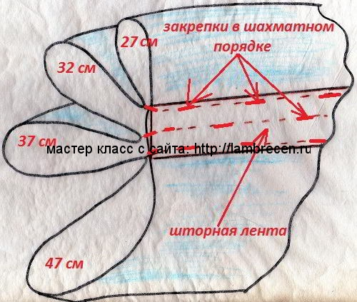 схема кроя ламбрекена буфы жатка или гребешок