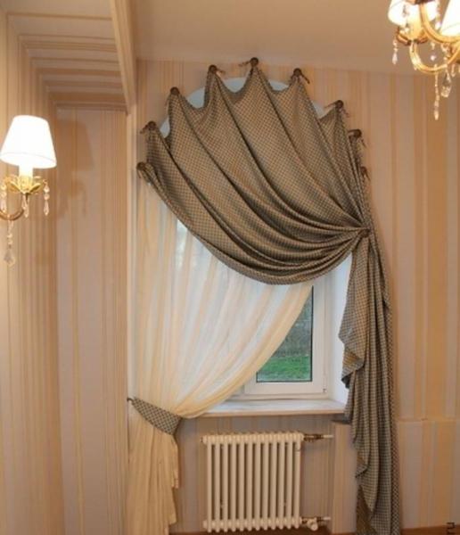 штора на арочное окно