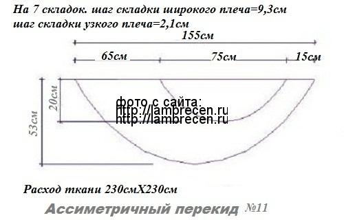 ассиметричный перекид выкройка