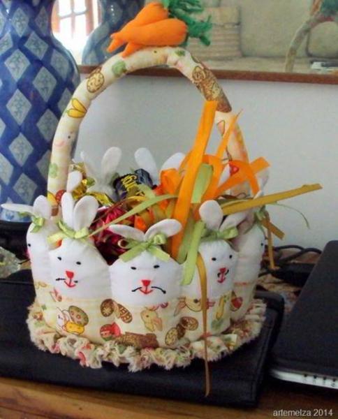пасхальная корзинка с зайцами своими руками мк