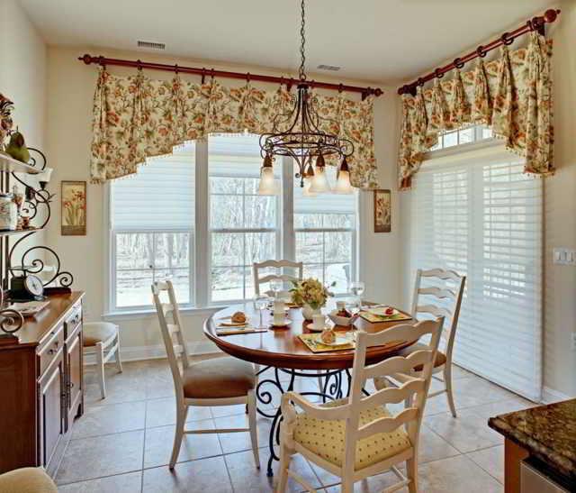 Короткие ситцевые шторы для кухни — простота и элегантность