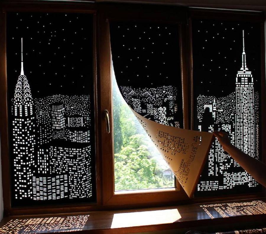 Эти уникальные шторы превращают окна в виды ночного города даже днём